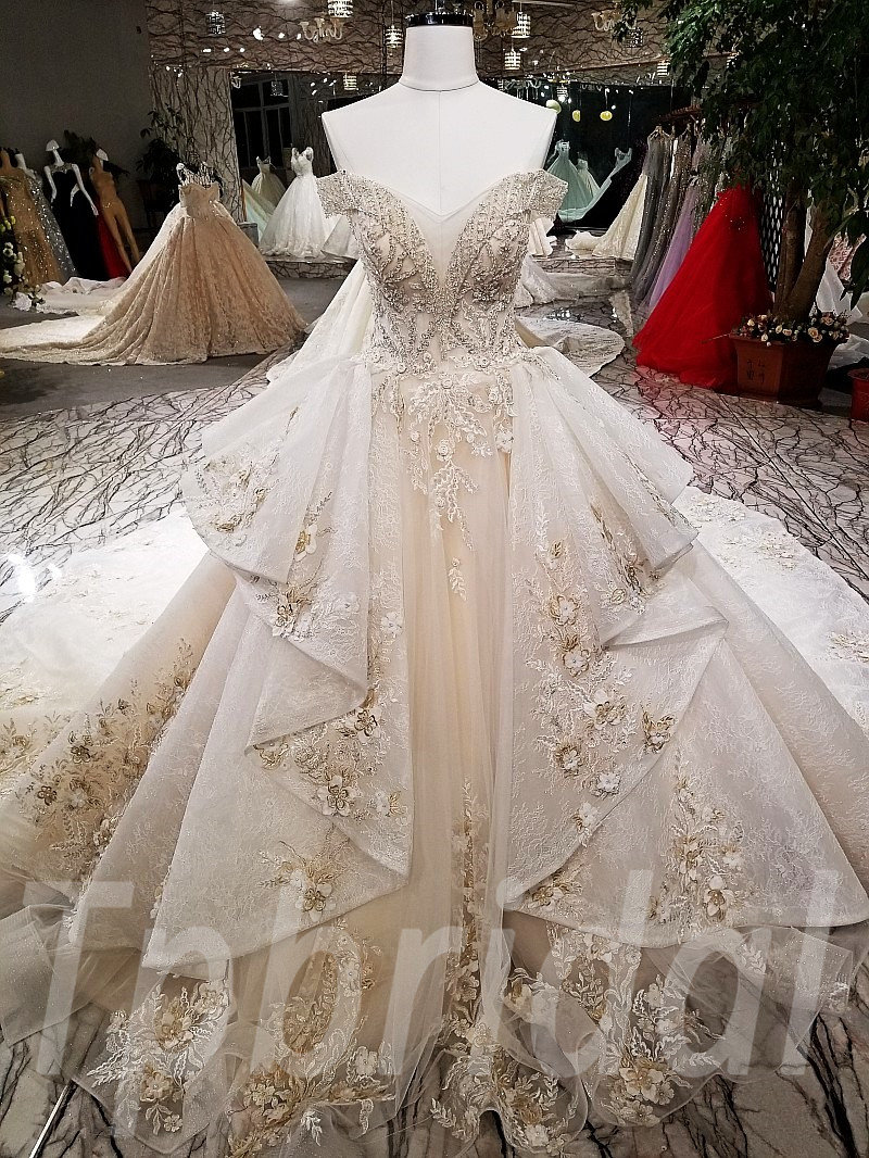 Long Train Wedding Dress Lace Hand Made Bridal Gown