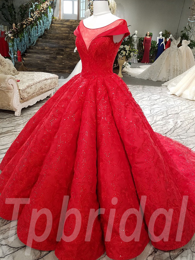Red Wedding Dresses.Red Wedding Dress Lace Prom Dress With Train