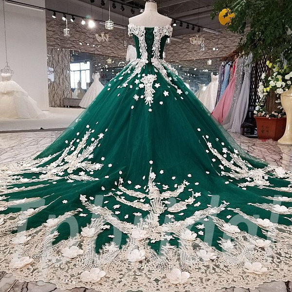 Green Wedding Dress Ball Gown Prom Party Dress Online Tpbridal
