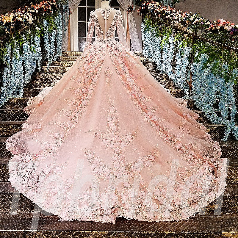 Wedding Gowns In Pink: Pink Wedding Dress Plus Size Long Sleeve Ball Gown Bridal