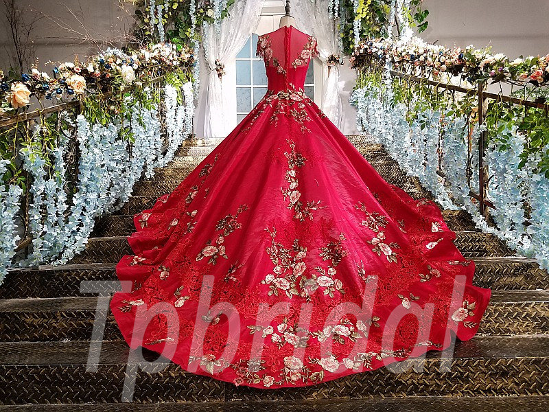 Red Ball Gown Bridal Dress Train Prom Party Dress For Sale \u2022 tpbridal