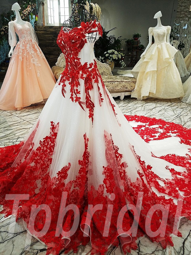 Red Ball Gown Bridal Gown Train Applique Prom Party Dress