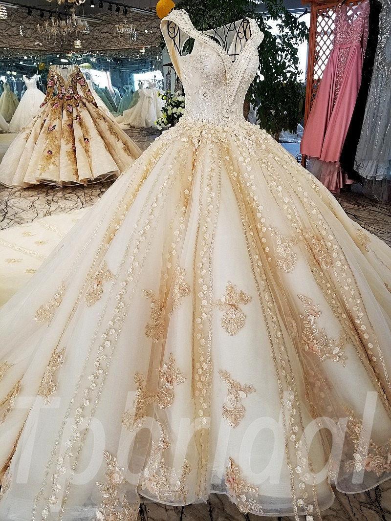 Wedding Dresses Train V Neck Ball Gown Bridal Dress Online