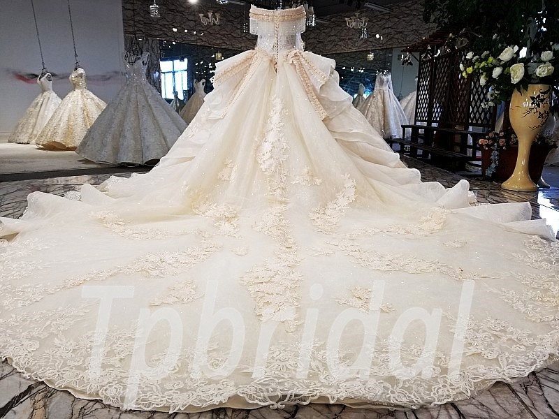 Wedding Dresses With Color.Champagne Color Wedding Dress Lace Off Shoulder Ball Gown