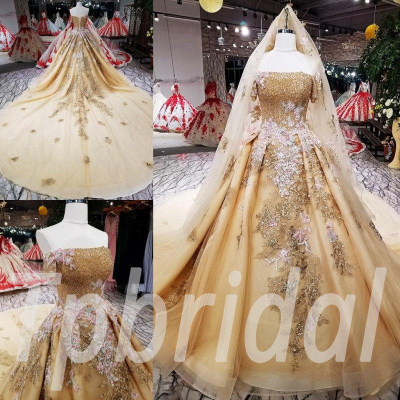 Gold Wedding Dress Plus Size Formal Party Dress Girls
