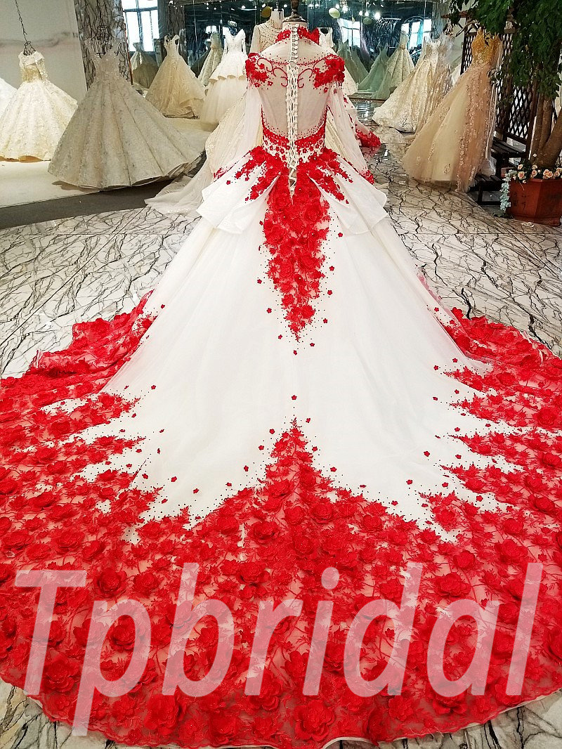 Red Wedding Dress Plus Size High Neck Long Train Girls