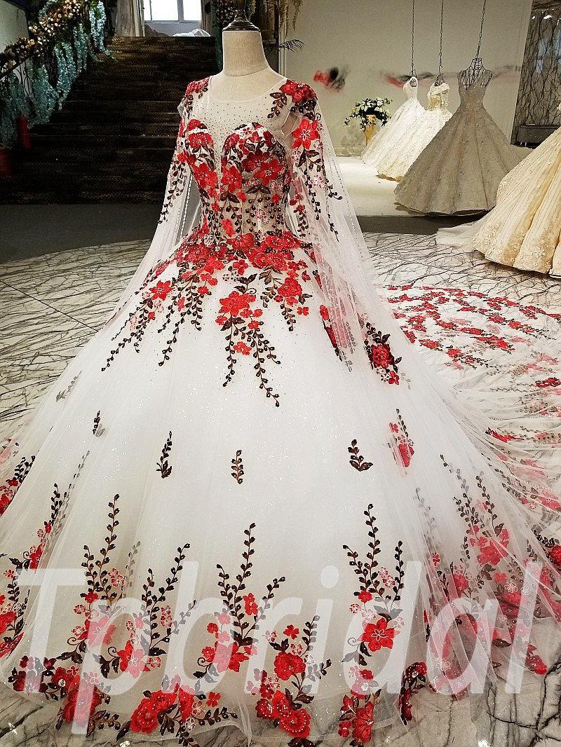 Wedding Dress Wholesale Red A Line Round Collar Bridal Dress