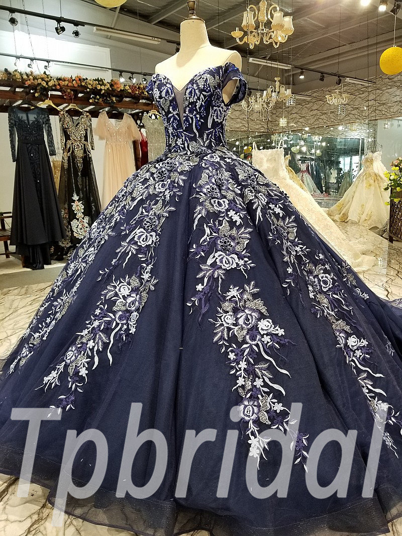 Dark Blue Wedding Dress Ball Gown Short Sleeves Prom Dress
