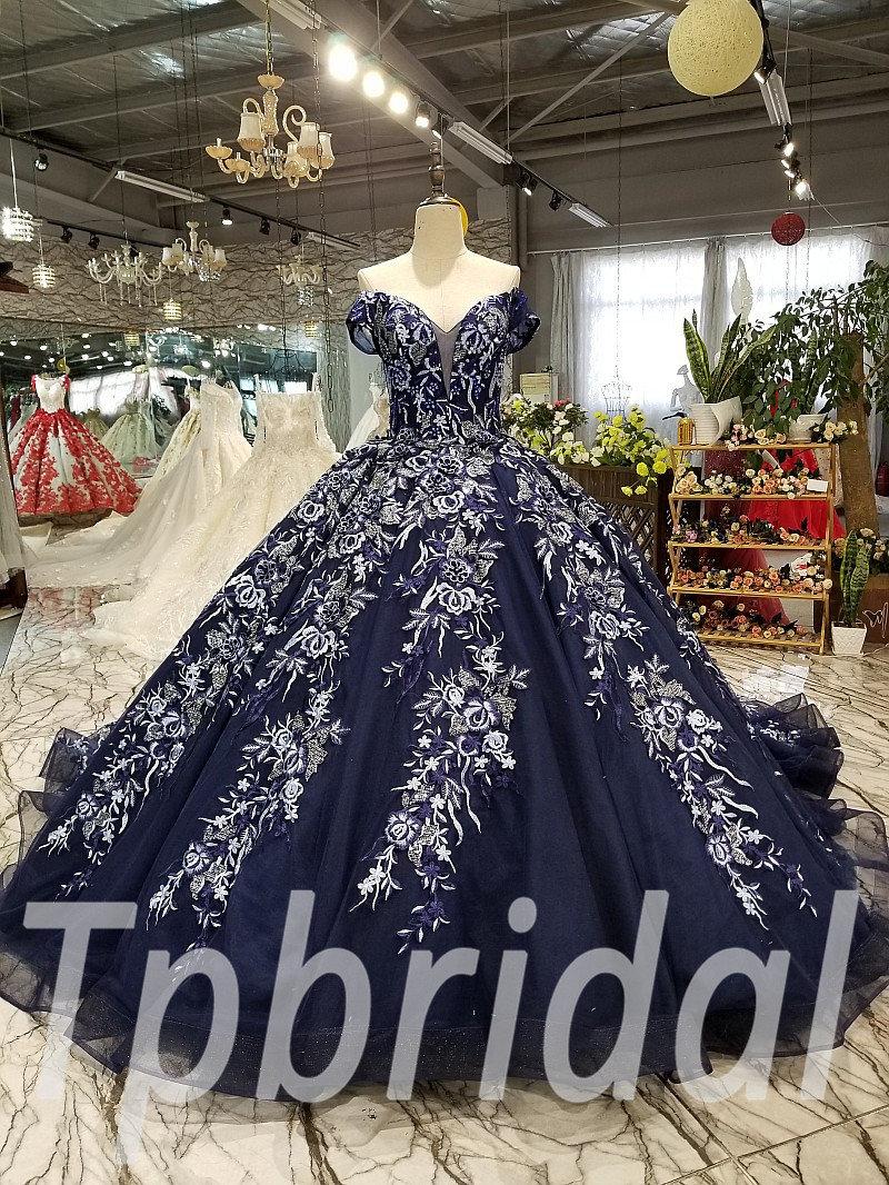 Dark Blue Wedding Dress Train Off
