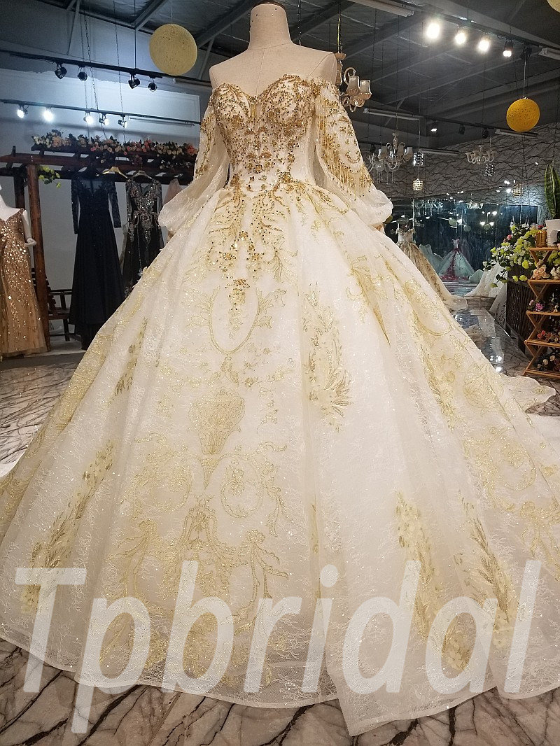 gold and white wedding dress huate couture long train