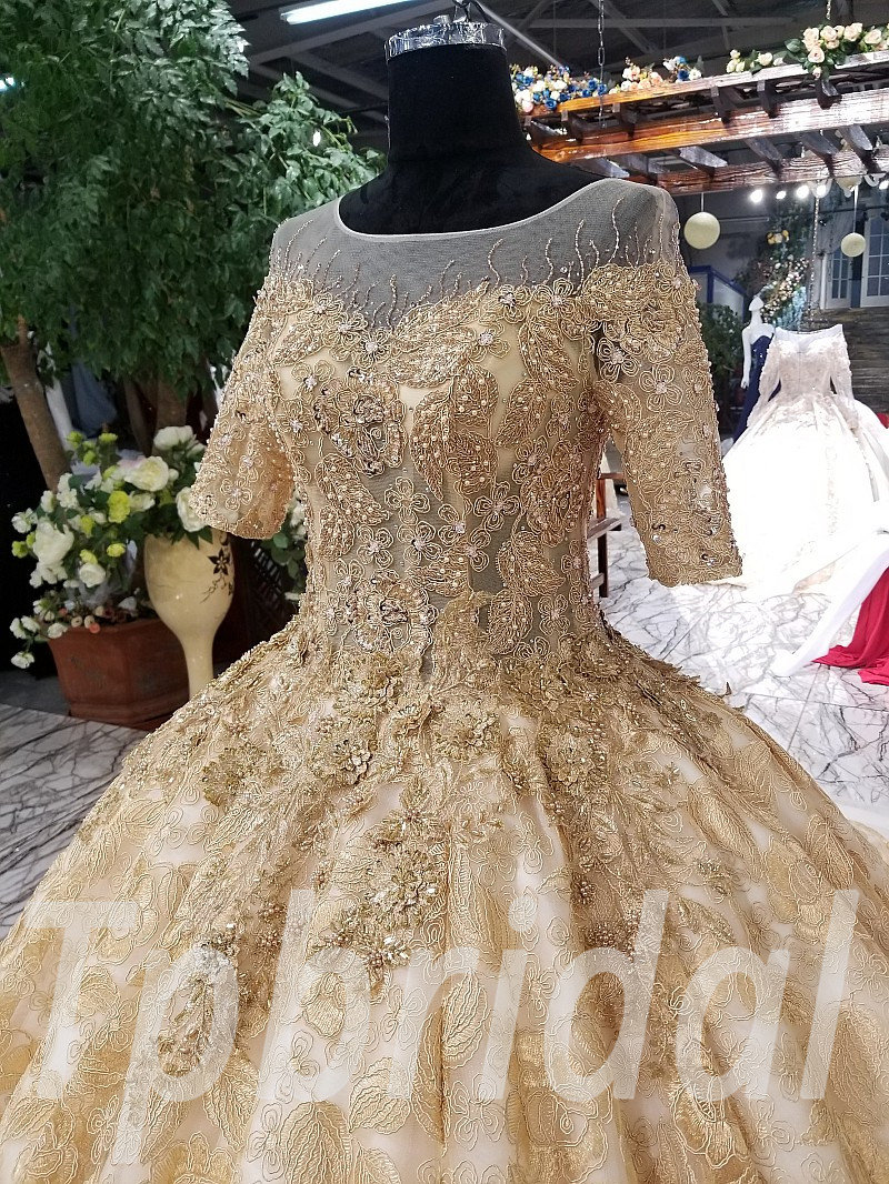 Gold Wedding Dress Plus Size Custom Made Prom Formal Dress