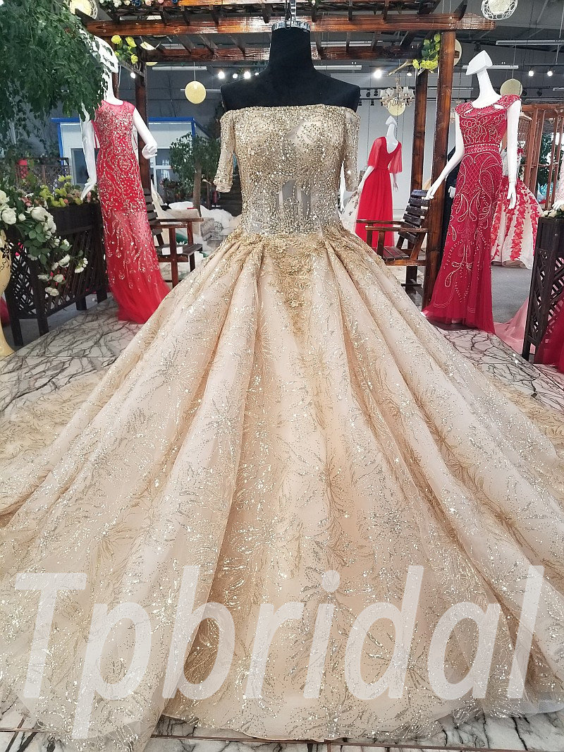 Lace Wedding Dress Gold Ball Gown Prom Party Dress 2018