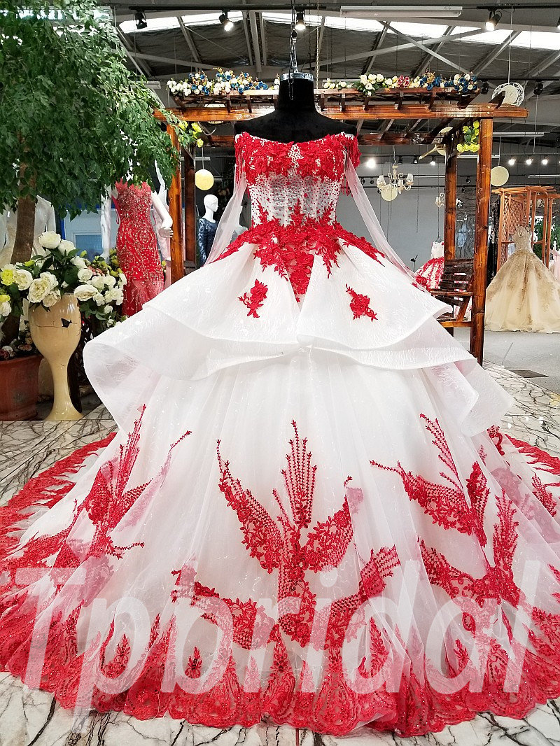 Red And White Wedding Dress.Red And White Wedding Dress Long Sleeve Off Shoulder