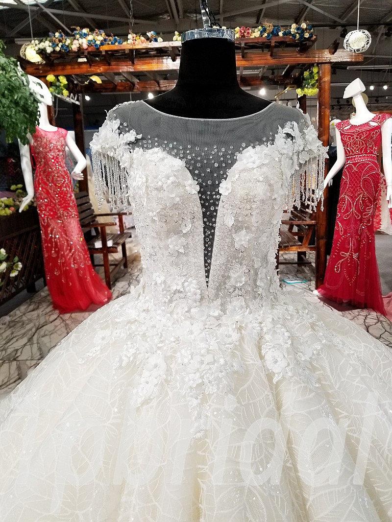 Wedding Dress Diamonds Short Sleeve Ball Gown Hand Made