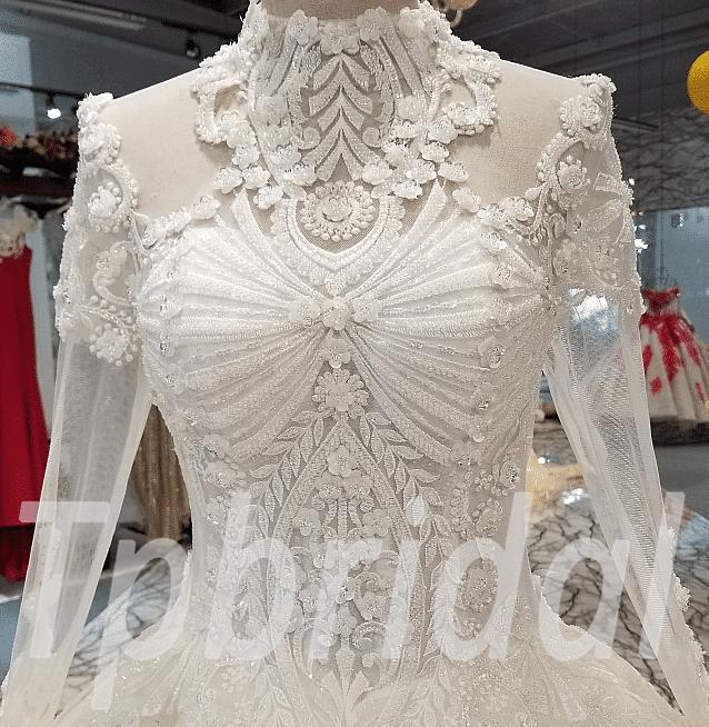 High Neck Ball Gown Wedding Dress Luxury Hand Made Princess