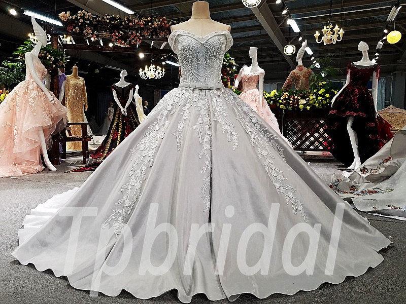 4fc1921826cee Long Train Wedding Dress Grey Strapless Ball Gown Prom Dress • tpbridal