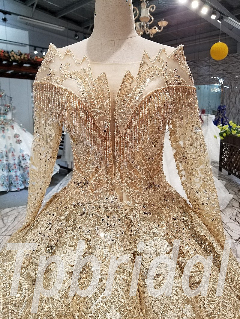 Ball Gown Wedding Dress Gold Brilliant Prom Dress