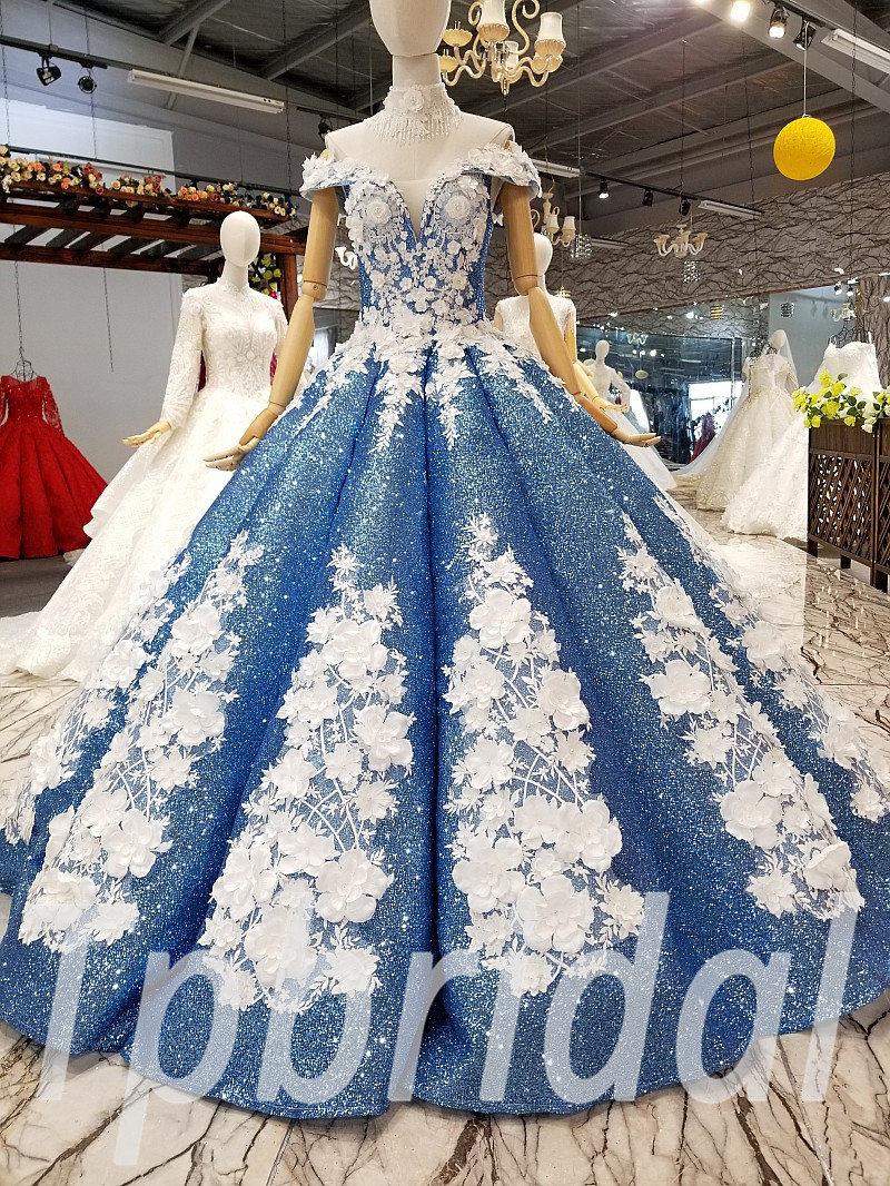 Blue Prom Dress Custom Made Wedding Dress Plus Size