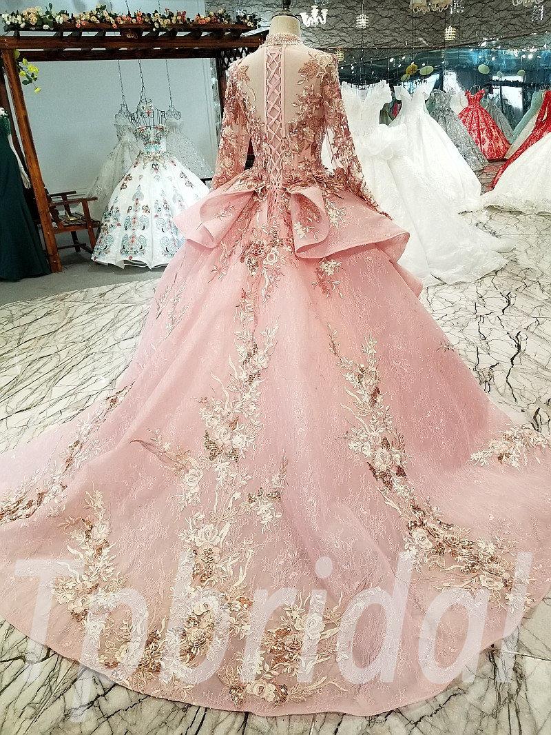 Ball Gowns Pink Wedding Dress A Line Custom Made Long Sleeve