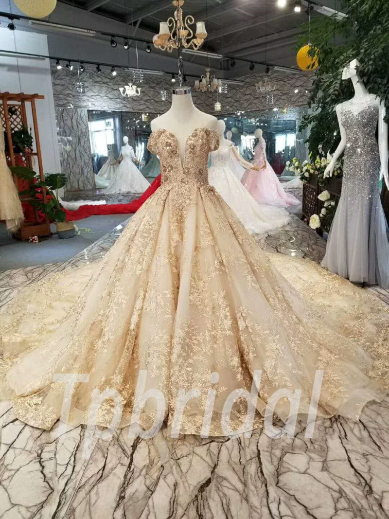 Gold Lace Prom Dress Haute Couture Wedding Dress Sale