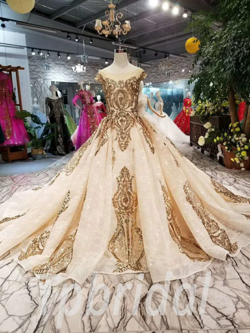 Wedding Dresses For Sale.Gold Wedding Dress Long Train Hante Couture Prom Dress Sale