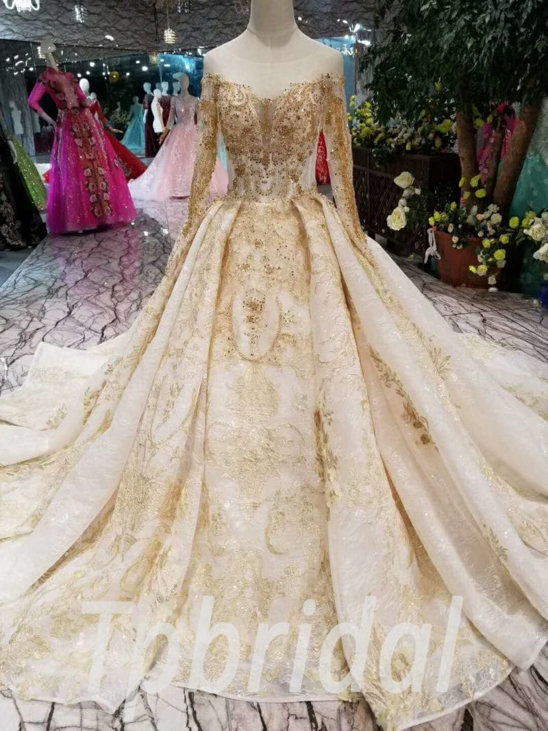 Gold Wedding Dresses.Gold Wedding Dress With Sleeve Haute Couture Bridal Dress