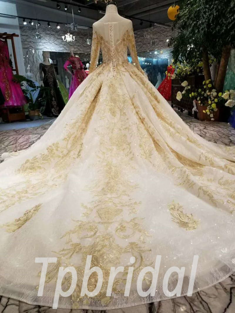 Gold Wedding Dress With Sleeve Haute Couture Bridal Dress