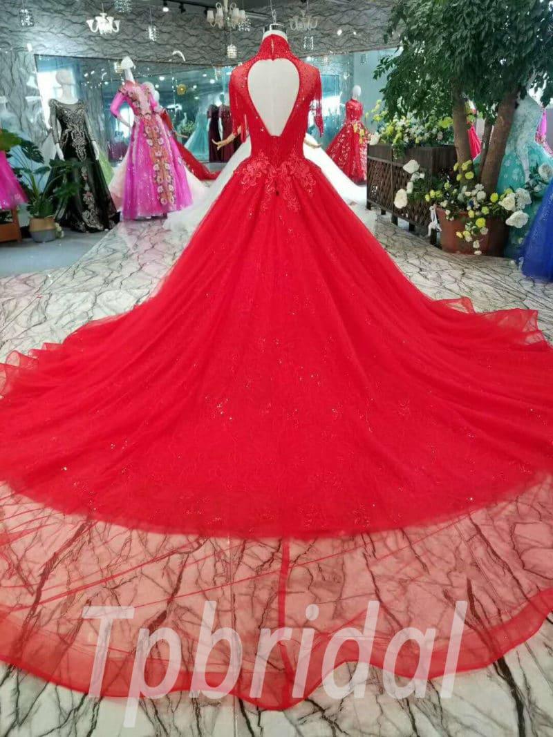 Red Wedding Dress Plus Size A Line Long Train Prom Dress