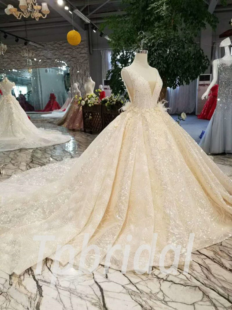 Champagne Wedding Dress With Bling Ball Gown 2018