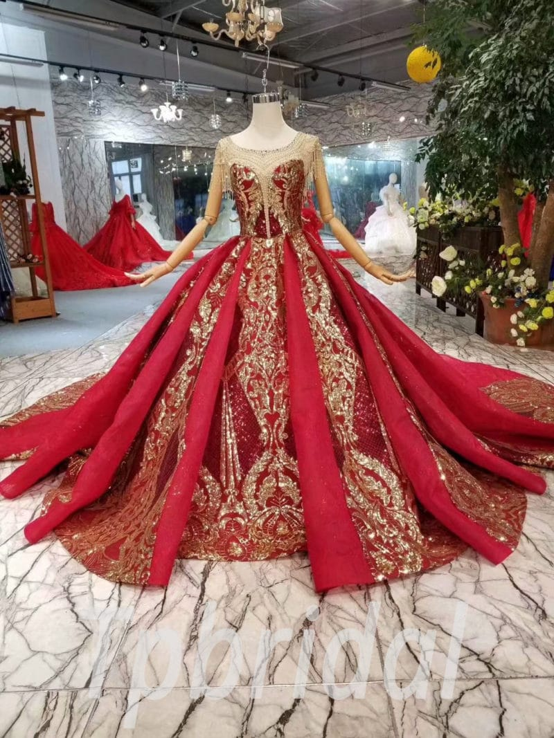 Gold Wedding Dresses.Red And Gold Wedding Dress Illusion Neckline Ball Gown