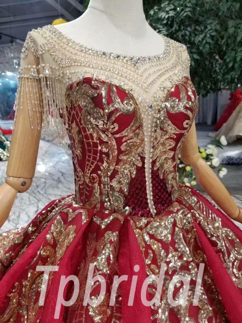 Red Gold Wedding Dress