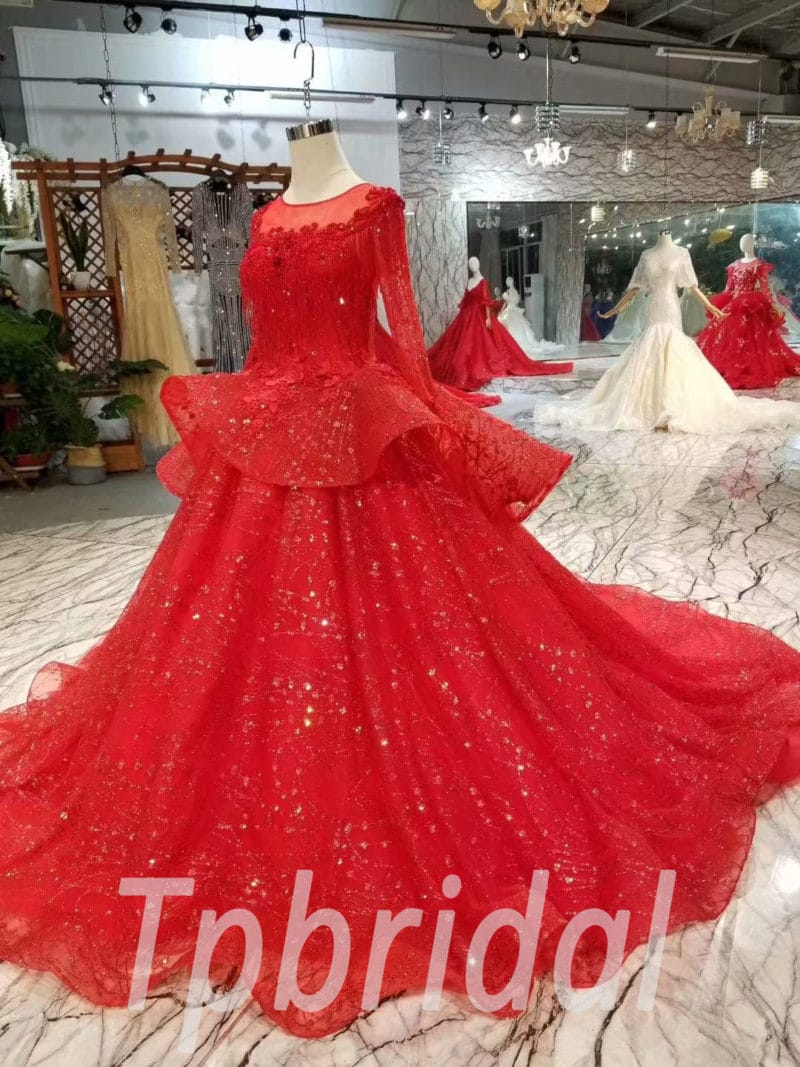 Red Prom Dress Plus Size Lace Long Sleeve Hand Made Sale