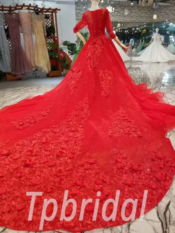 Red Wedding Dresses For Sale | Red Wedding Dress For Sale 3 4 Sleeve A Line Formal Dress Train