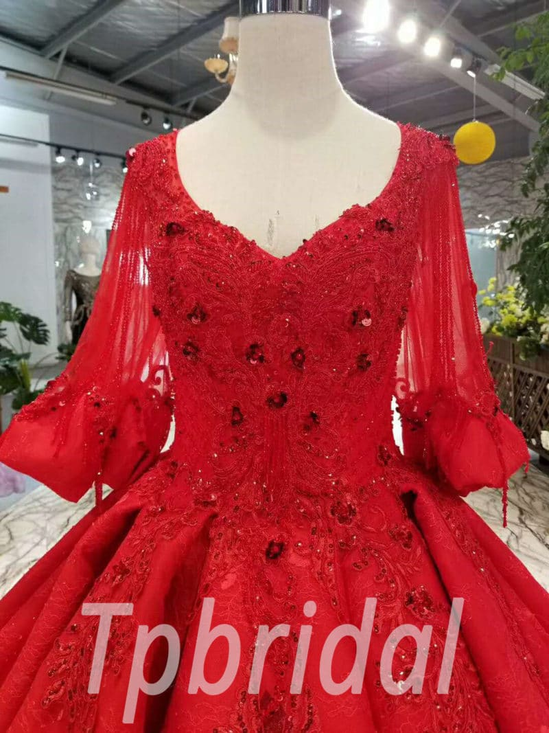 d9109b8b44e Red Wedding Dress Plus Size Hand Made Lace Ball Gown