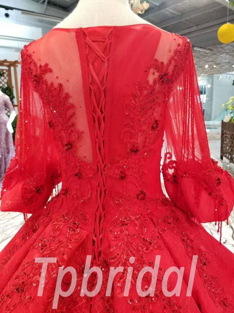 Red Wedding Dress Plus Size Hand Made Lace Ball Gown