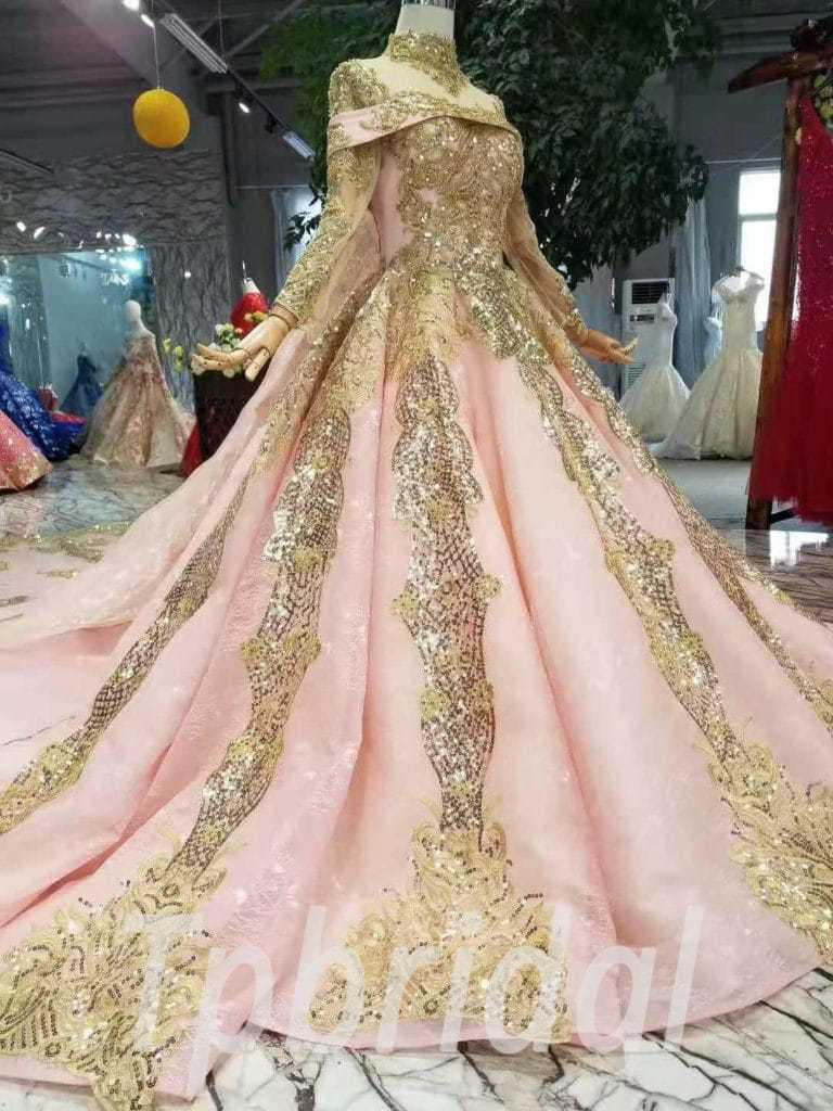 Gold Wedding Dresses.Pink And Gold Wedding Dress Lace Long Sleeve With Train