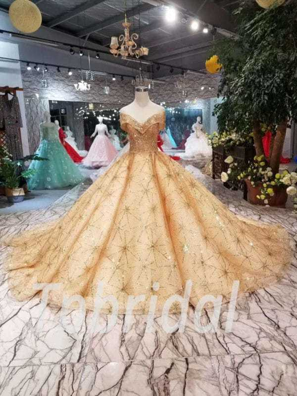 Gold Prom Dress Plus Size Off The Shoulder Ball Gown