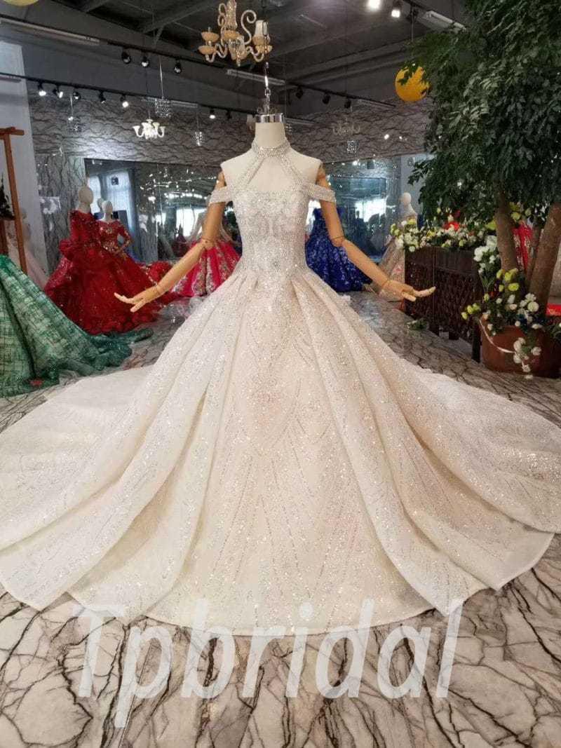 Halter Wedding Dress Hand Made Bling Lace Bridal Dress