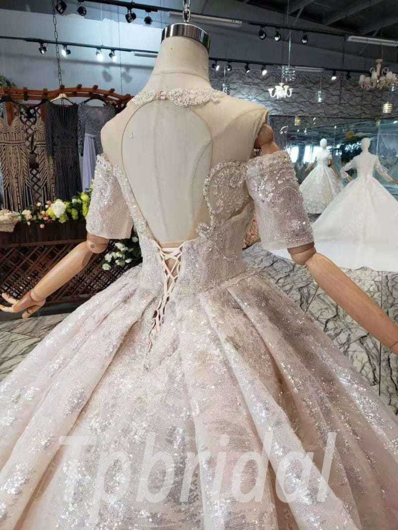 Bling Ball Gown Wedding Dress Haute Couture With Train