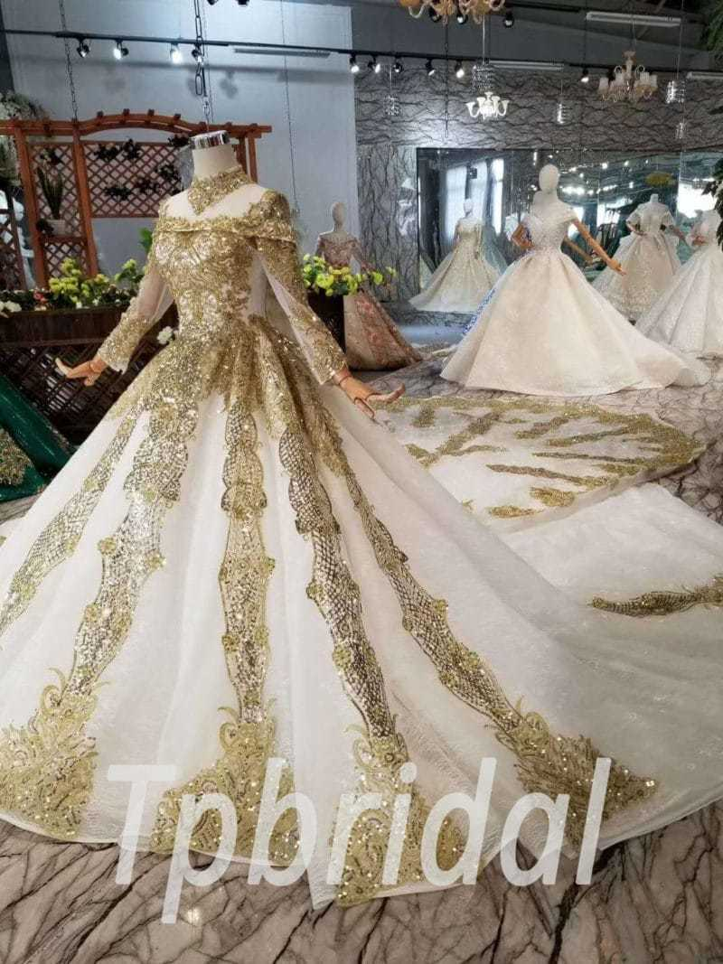 Gold And White Wedding Dress High Neck Lace Prom Dress