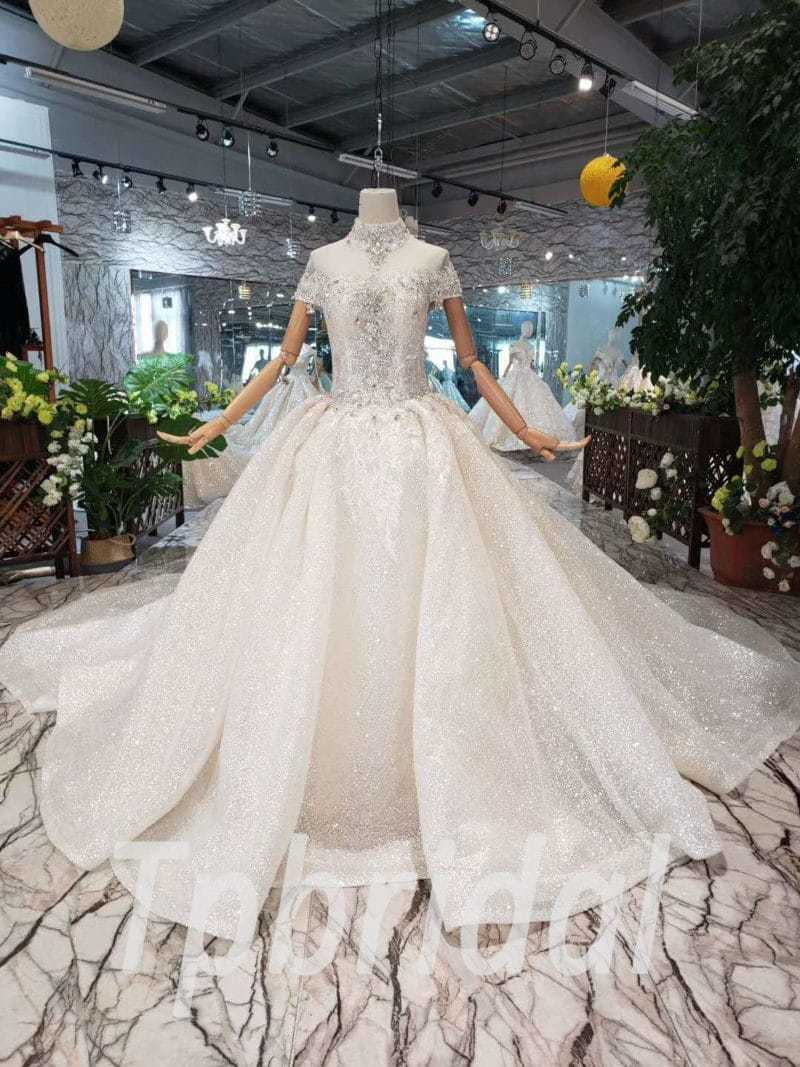 High Neck Wedding Dress.High Neck Wedding Dress Bling Ball Gown Champagne Train