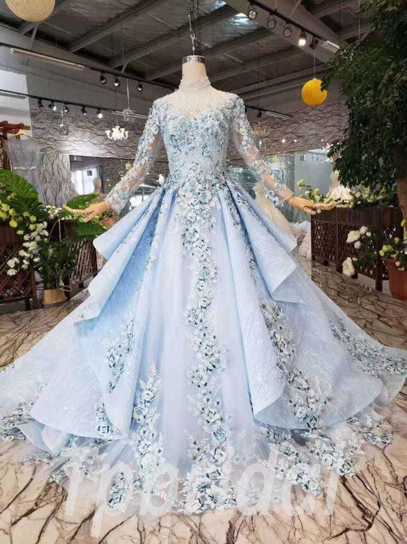 Light Blue Prom Dress High Neck Long Sleeve Quinceanera
