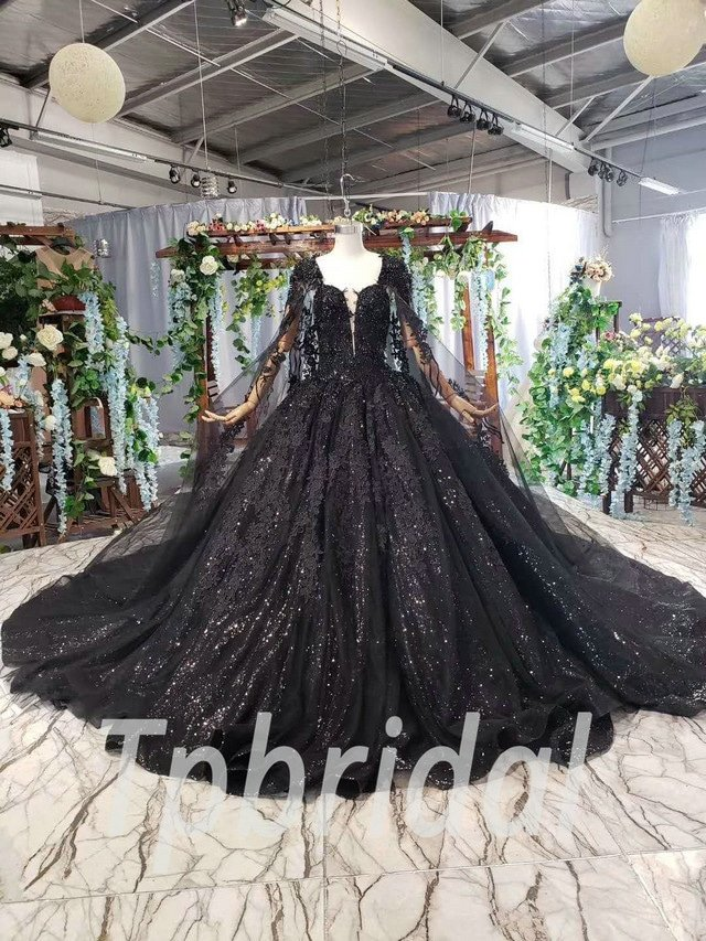 Black Wedding Gown Ball Gown Lace Prom Dress With Cape