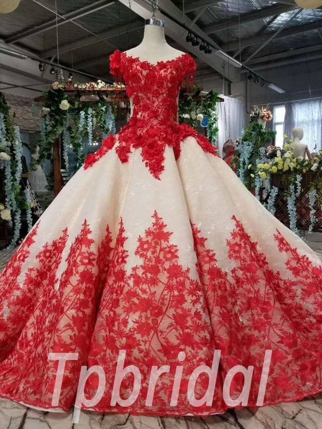 Red And White Wedding Dress Ball Gown With Train
