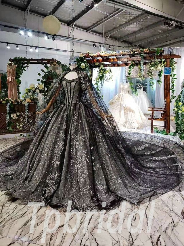 Black Wedding Dress Ball Gown Off The Shoulder With Cape